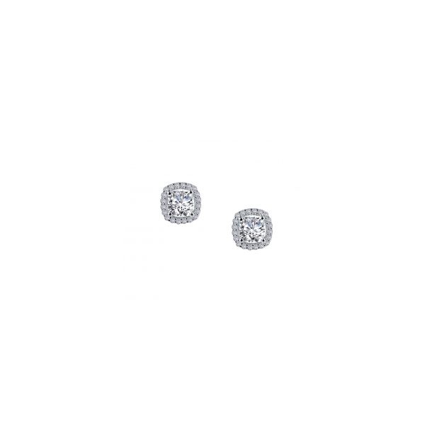 Sterling Silver Cushion Shape Halo Stud Earrings Orin Jewelers Northville, MI