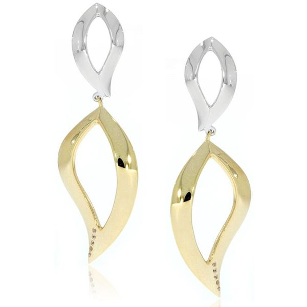 Lady's Sterling Silver And Gold Plated Fashion Earrings With White Sapphires Orin Jewelers Northville, MI