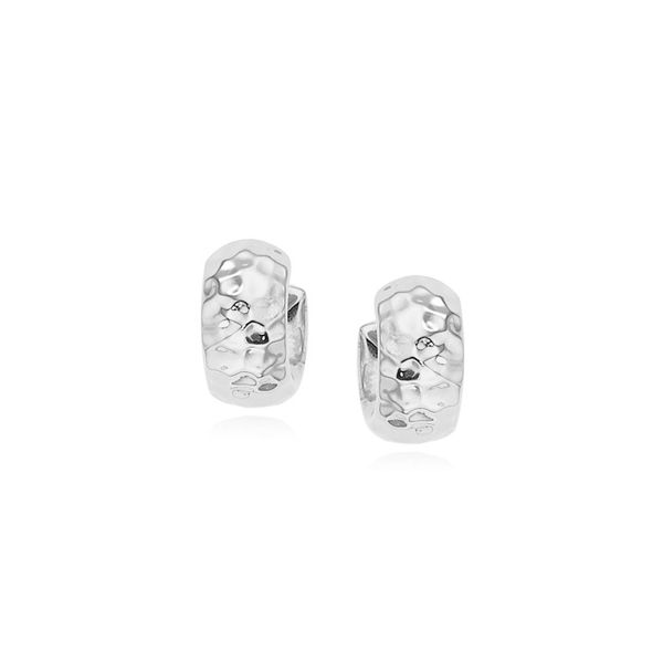 Lady's Sterling Silver Hammered Hoop Earrings Orin Jewelers Northville, MI