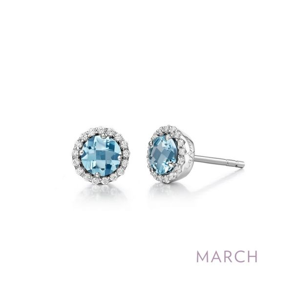 Sterling Silver Simulated Aquamarine & CZ Earrings Orin Jewelers Northville, MI