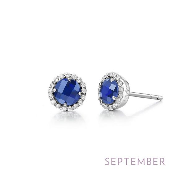Sterling Silver Lab Grown Sapphire & CZ Earrings Orin Jewelers Northville, MI