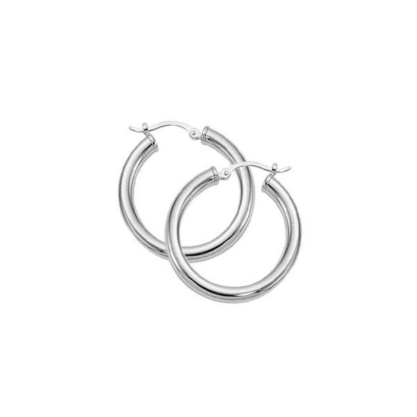 Sterling Silver Medium 25mm Hoop Earrings Orin Jewelers Northville, MI