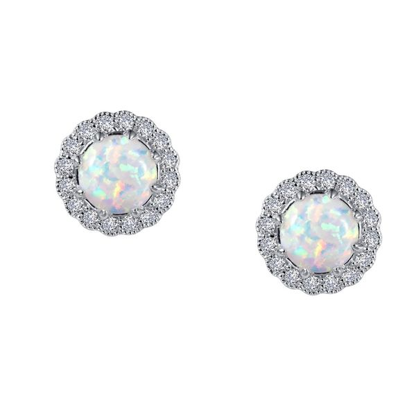 Sterling Silver Earrings With Simulated Opals & Cubic Zirconias Orin Jewelers Northville, MI