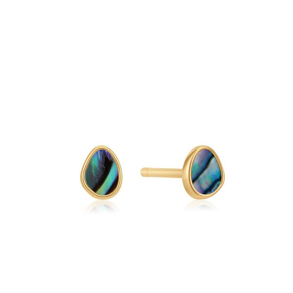 Sterling Silver Gold Plated Tidal Abalone Stud Earrings By Ania Haie Orin Jewelers Northville, MI