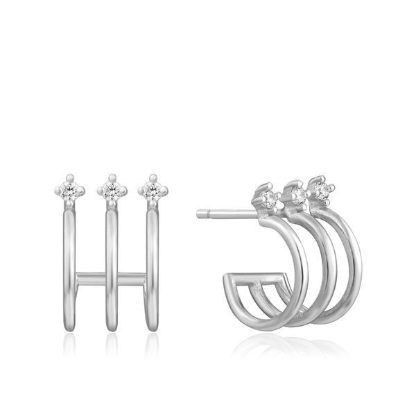 Sterling Silver Triple Mini Hoop Stud Earrings By Ania Haie Orin Jewelers Northville, MI