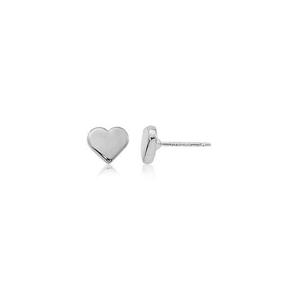Sterling Silver Flat Heart Stud Earrings Orin Jewelers Northville, MI