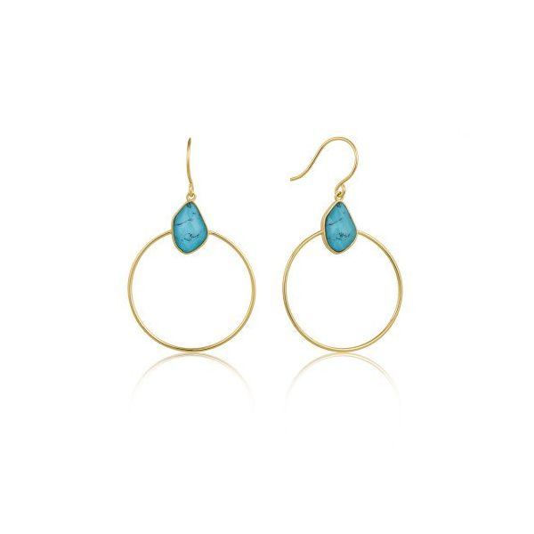 Sterling Silver Gold Plated Turquoise Front Hoop Gold Earrings by Ania Haie Orin Jewelers Northville, MI