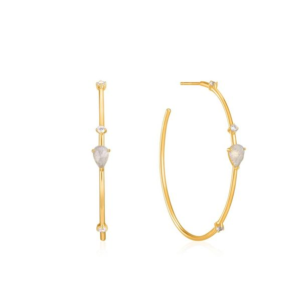 Sterling Silver Gold Plated Midnight Hoop Earrings With Labradorite By Ania Haie Orin Jewelers Northville, MI