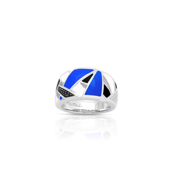 Lady's Sterling Silver Spectrum Ring With Blue, White, Black Enamel & Black & White CZs Orin Jewelers Northville, MI