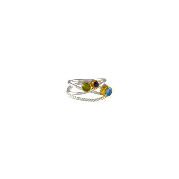 Sterling Silver & 22k Gold Vermeil Ring with Peridot, Envy Topaz and Sky Blue Topaz Orin Jewelers Northville, MI