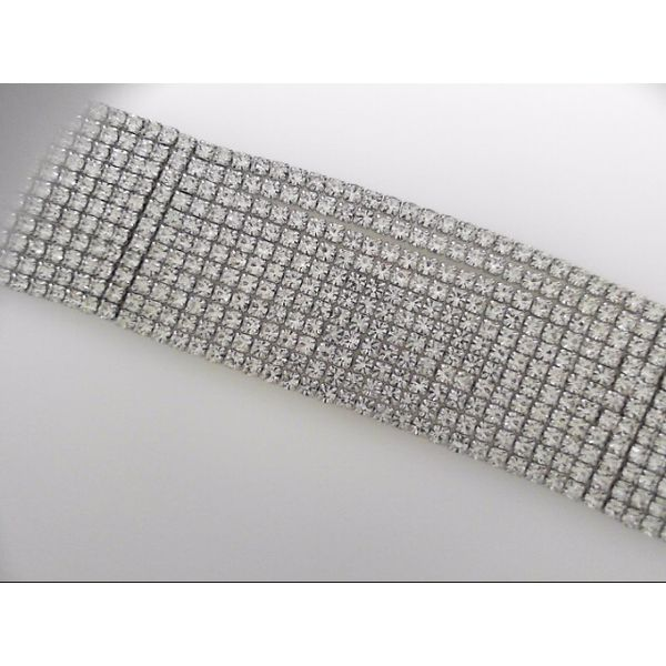 White Rhodium Plated Crystal Eleven Row Bracelet Orin Jewelers Northville, MI