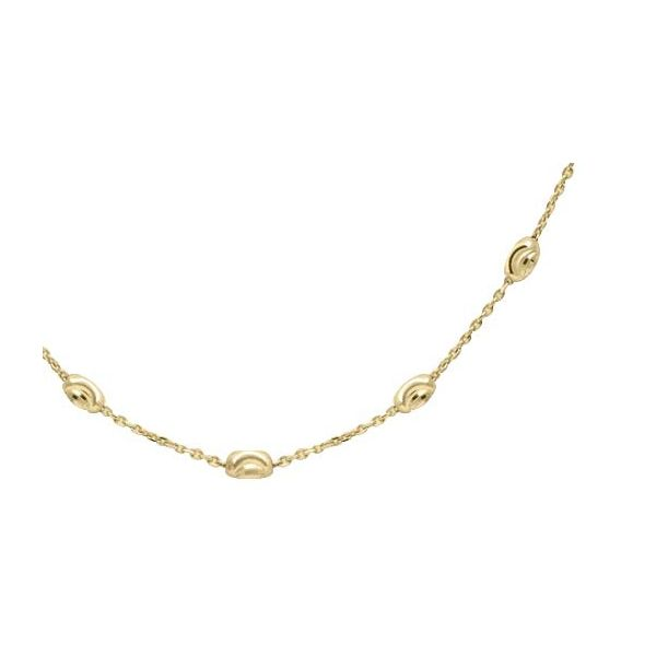 Lady's Sterling Silver Yellow Plated Oval Bead Anklet, 9