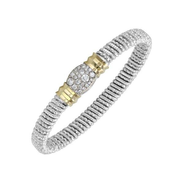 Sterling Silver & 14 Karat Yellow Gold 6mm Bracelet by ALWAND VAHAN With 25 Diamonds Orin Jewelers Northville, MI