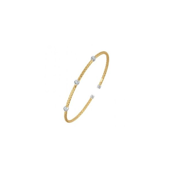 Sterling Silver & Yellow Plated 2mm Cuff Bracelet Orin Jewelers Northville, MI