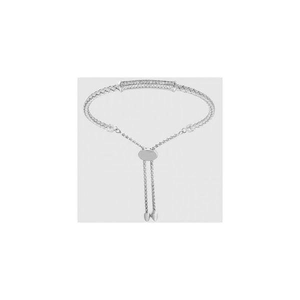 Lady's SS & Rhodium Plated Rachel 3mm Woven Friendship Bracelet w/CZs Orin Jewelers Northville, MI