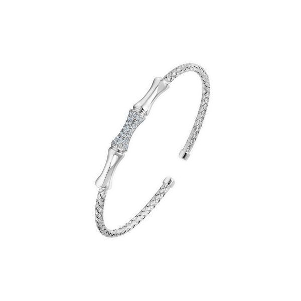 Sterling Silver 3mm Cuff, Bamboo With CZs Orin Jewelers Northville, MI