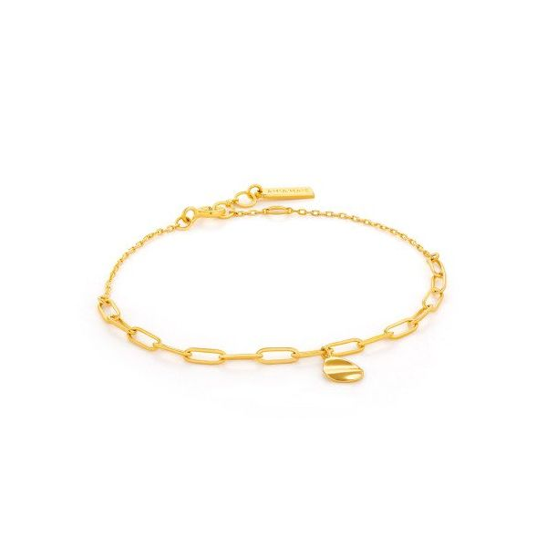 Sterling Silver Gold Plated  Crush Drop Disc Bracelet By Ania Haie Orin Jewelers Northville, MI