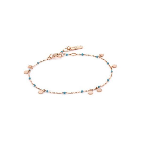 Sterling Silver Rose Gold Plated Dotted Drop Discs Bracelet By Ania Haie Orin Jewelers Northville, MI