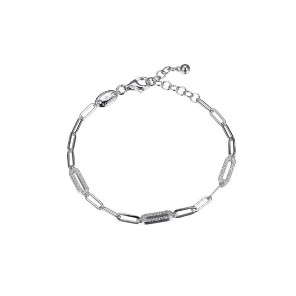 Sterling Silver Paperclip Chain Bracelet With 3 CZ Link Stations, Rhodium Finish Orin Jewelers Northville, MI