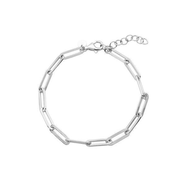 Lady's Sterling Silver Paperclip Bracelet, Rhodium Finish Orin Jewelers Northville, MI