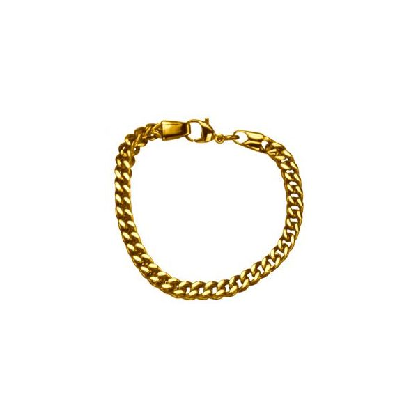 Stainless Steel Gold Plated 6mm Franco Chain Bracelet Orin Jewelers Northville, MI