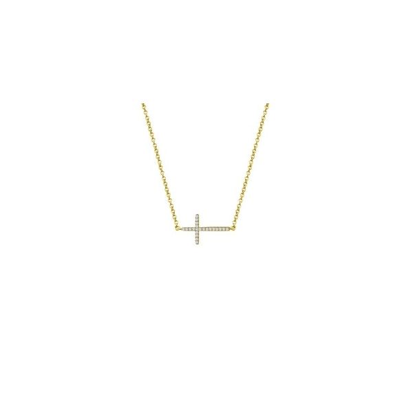 Lady's Sterling Silver Yellow Gold Plated Sideways Cross Necklace With CZs Orin Jewelers Northville, MI