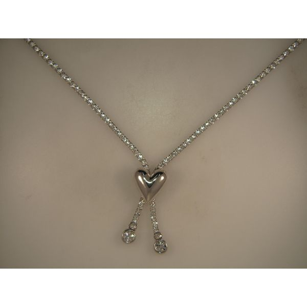 Lady's White Heart Stopper Lariat Necklace w/Swarovski Crystals Orin Jewelers Northville, MI