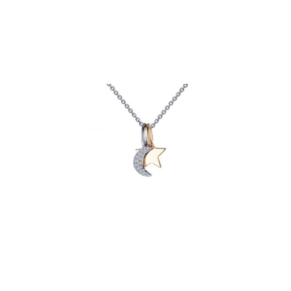 Sterling Silver & Gold Plated Moon-N-Star Charm Necklace Orin Jewelers Northville, MI