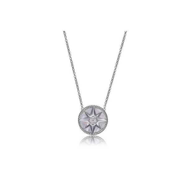 Lady's Sterling Silver Compass Necklace with Mother of Pearl and CZs Orin Jewelers Northville, MI
