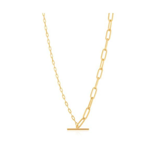 Sterling Silver Gold Plated Mixed Link T-Bar Necklace By Ania Haie Orin Jewelers Northville, MI