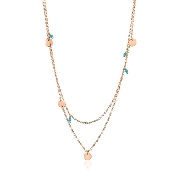 Sterling Silver Rose Gold Plated Dotted Double Necklace By Ania Haie Orin Jewelers Northville, MI