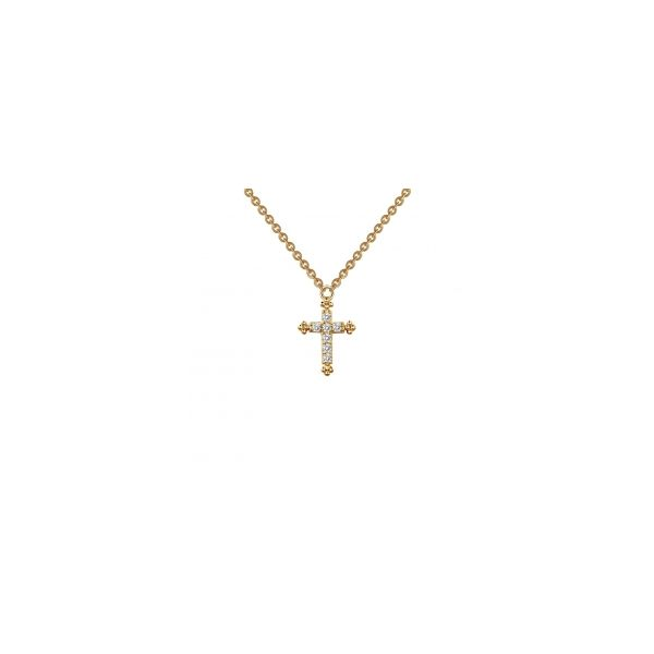 Lady's Sterling Silver CZ Small Cross Necklace Orin Jewelers Northville, MI