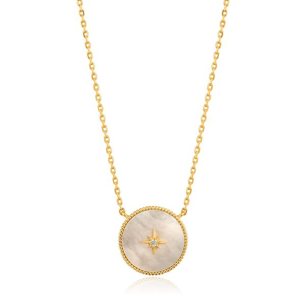 Sterling Silver Gold Plated Mother Of Pearl Emblem Necklace by Ania Haie Orin Jewelers Northville, MI