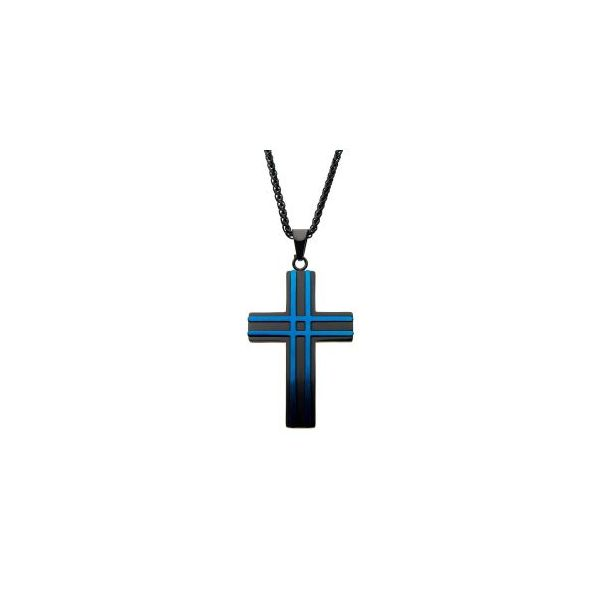 Stainless Steel All Matte Finished Black and Blue Plated Layer Cross Pendant Orin Jewelers Northville, MI
