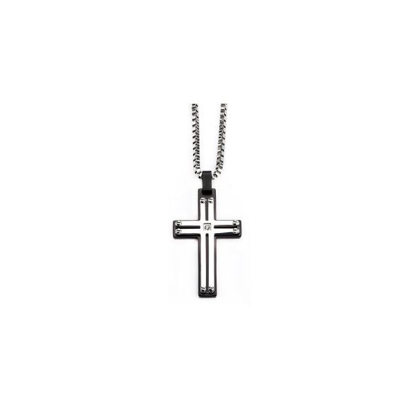 Black Plated and Stainless Cross Pendant Orin Jewelers Northville, MI
