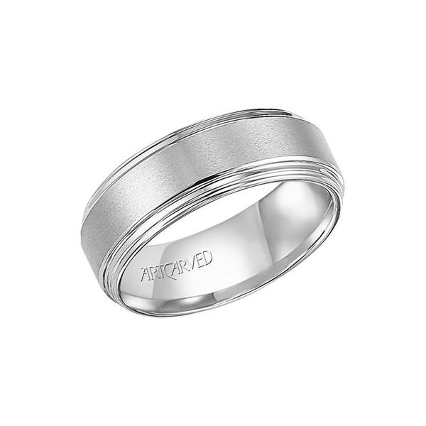 Gents Tungsten Carbide Wedding Band Brushed Finish & w/3-Step Edge Orin Jewelers Northville, MI