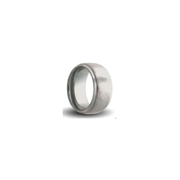 8mm Tungsten Carbide Band With High Polish Step Edge, Hammer Finish Center Orin Jewelers Northville, MI