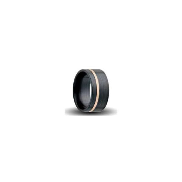 7mm Black Zirconium Machine Finish Band With Rose Gold Inlay Orin Jewelers Northville, MI