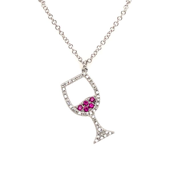 14K White Gold Wine Glass Diamond and Ruby Necklace Padis Jewelry San Francisco, CA