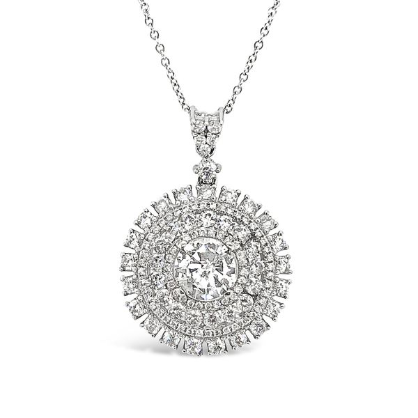 18KT White Gold Diamond Halo Pendant Padis Jewelry San Francisco, CA
