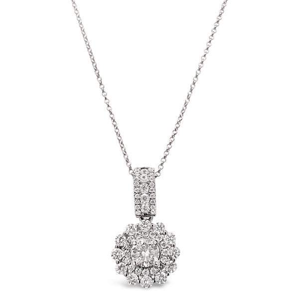18KT White Gold Pave Halo Pendant with Round Brilliant Diamond Accents Padis Jewelry San Francisco, CA