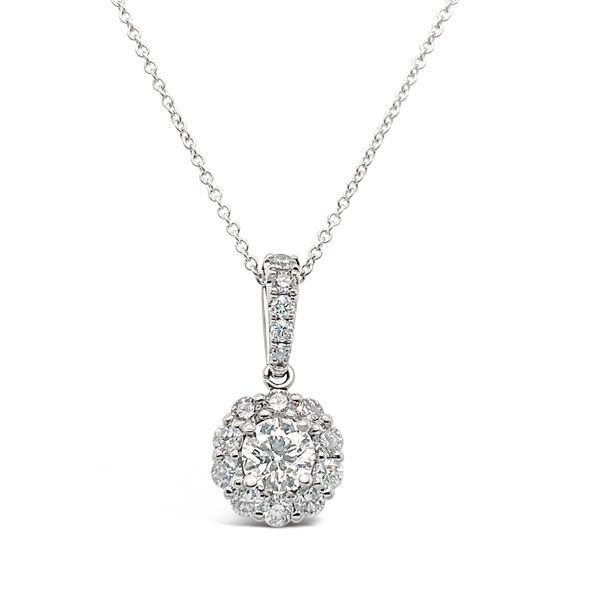 18KT White Gold Halo Diamond Pendant Padis Jewelry San Francisco, CA