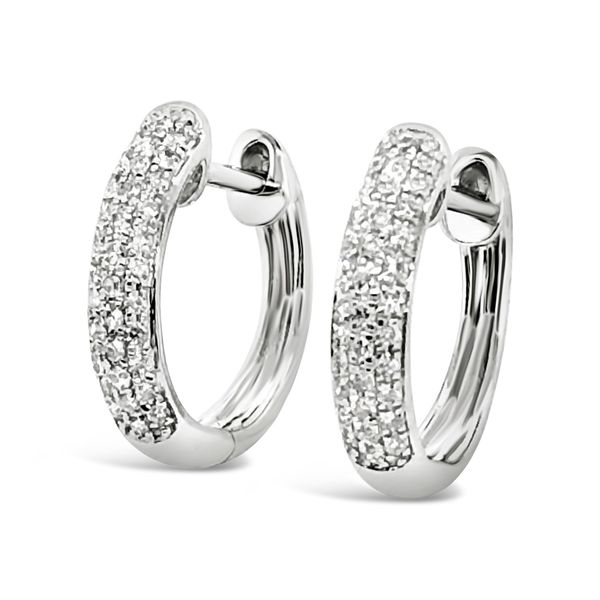 14K White Gold Diamond Hoop Earrings Padis Jewelry San Francisco, CA