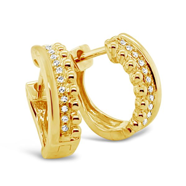 14K Yellow Gold Fashion Diamond Hoop Earrings Padis Jewelry San Francisco, CA