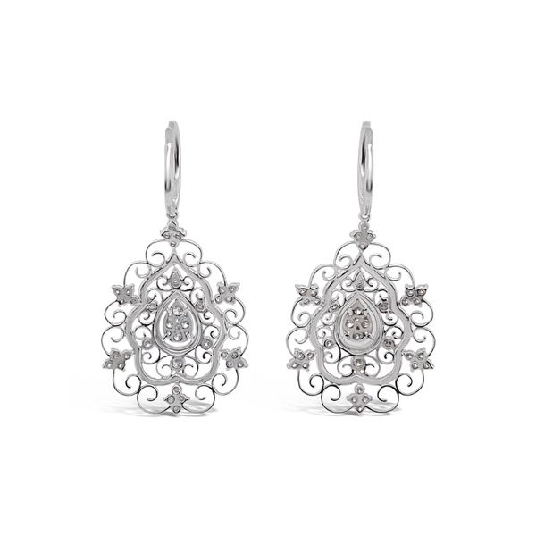 2.51 Cttw. 18KW Diamond Filigree Earrings Padis Jewelry San Francisco, CA