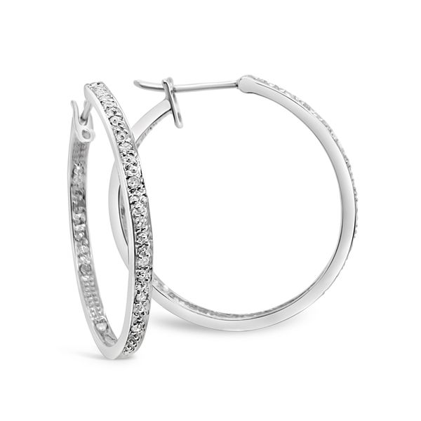 14KT White Gold Pave Hoop Earrings Padis Jewelry San Francisco, CA