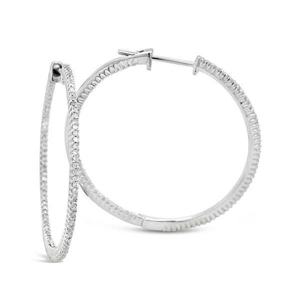 14KT White Gold Inside Outside Diamond Hoop Earrings Padis Jewelry San Francisco, CA