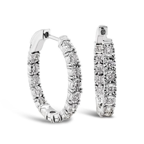 14K White Gold Hoop Earrings Padis Jewelry San Francisco, CA