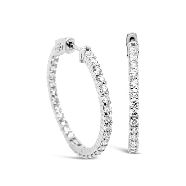 14K White Gold Inside Outside Diamond Hoop Earrings Padis Jewelry San Francisco, CA