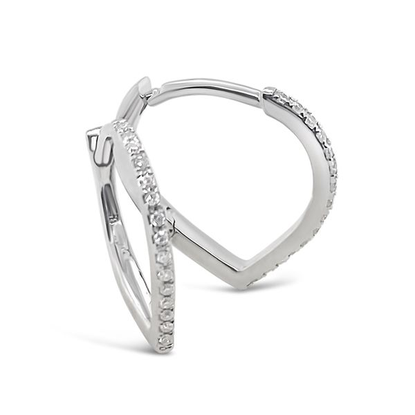 14KT White Gold Fashion Diamond Hoop Earrings Padis Jewelry San Francisco, CA
